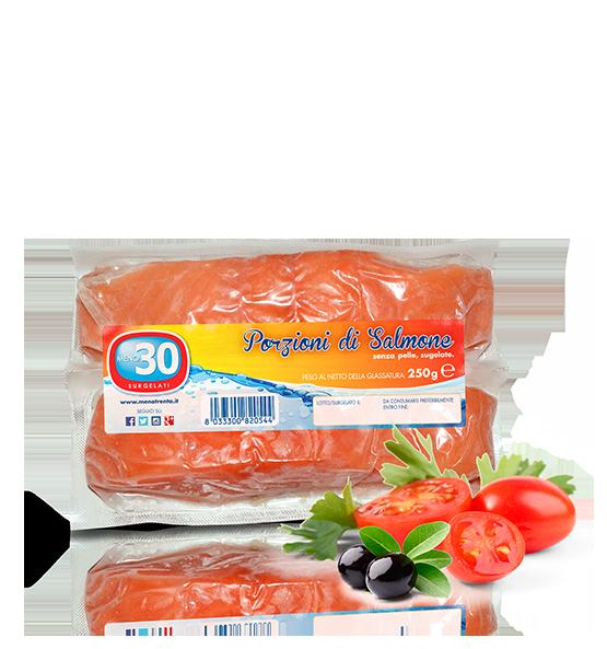 porzioni di salmone senza pelle Meno 30 Surgelati